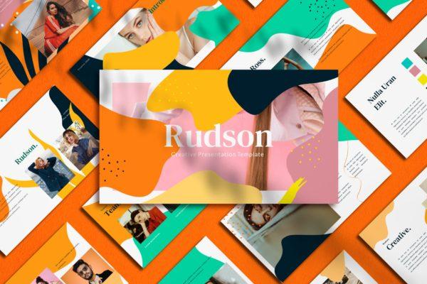 几何形状抽象多彩PPT演示文稿 Rudson – PowerPoint Template