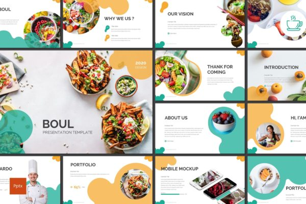 营养学讲座/健康食品PPT幻灯片模板 Boul – Food Powerpoint Template