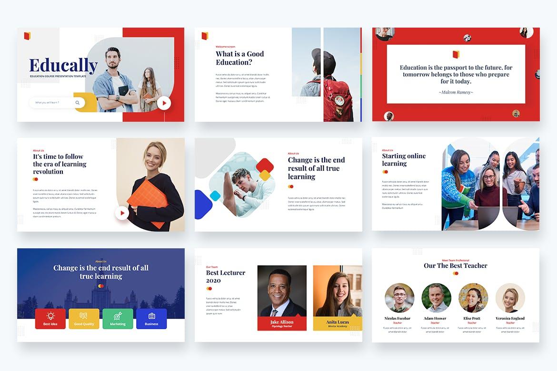 课程教育专题PowerPoint幻灯片模板 Educally – Education Course Powerpoint Template设计素材模板