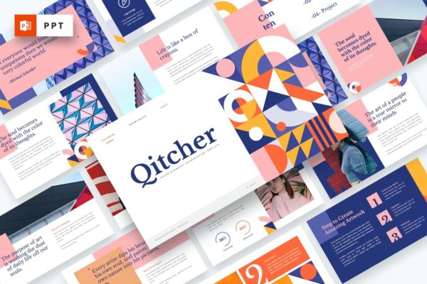 几何元素彩色设计Powerpoint模板 Qitcher – Color Geometry Powerpoint Template
