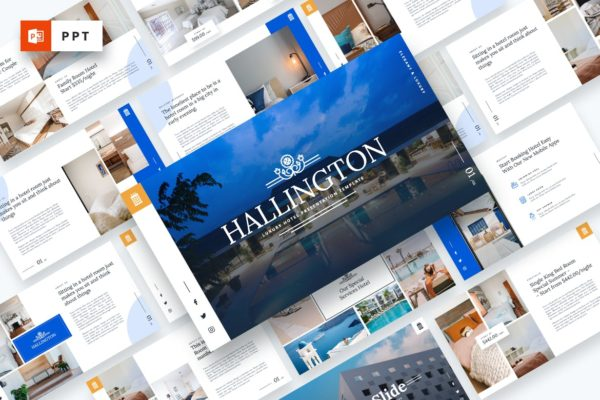 豪华酒店介绍服务Powerpoint演示模板 Hallington – Luxury Hotel Powerpoint Template