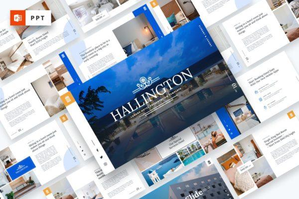 豪华酒店介绍服务Powerpoint演示模板 Hallington – Luxury Hotel Powerpoint Template