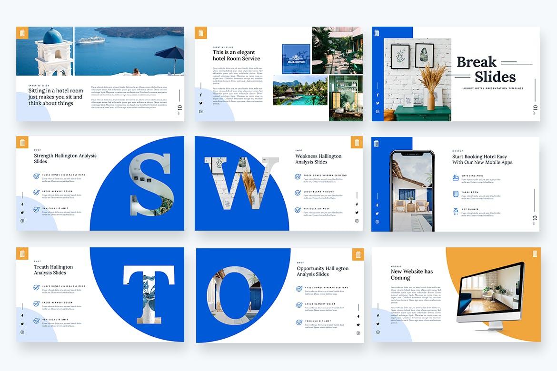 豪华酒店介绍服务Powerpoint演示模板 Hallington – Luxury Hotel Powerpoint Template设计素材模板