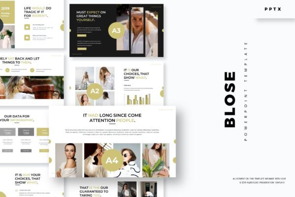 尺寸组合多款布局Powerpoint演示模板 Blose – Powerpoint Template