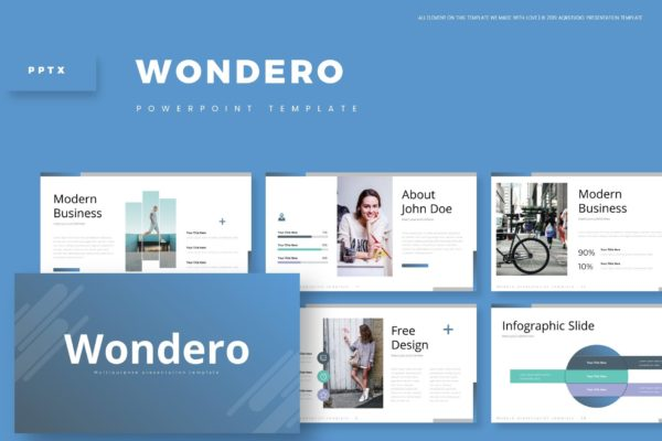 小清新设计排版PowerPoint模板合集 Wondero – Powerpoint Template