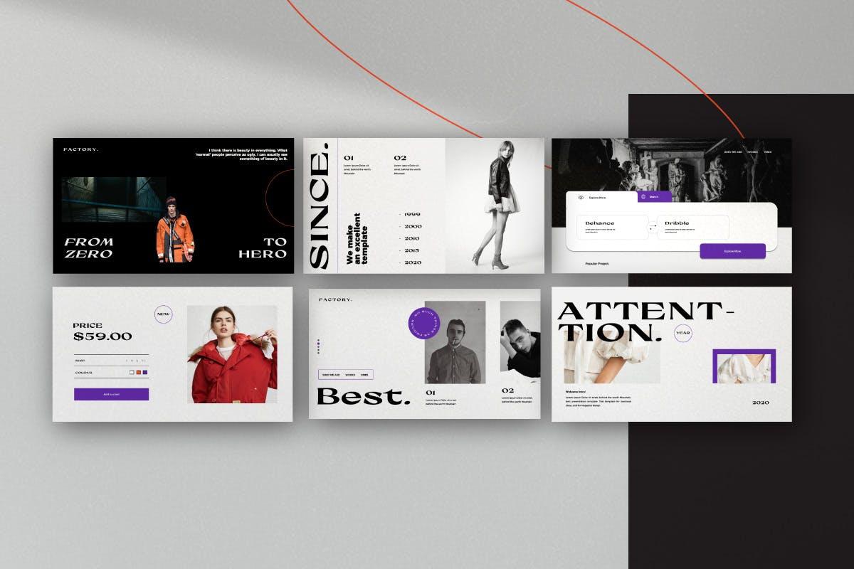 时尚都市演示文稿PPT模板 Factory – Urban Fashion Powerpoint Templates设计素材模板