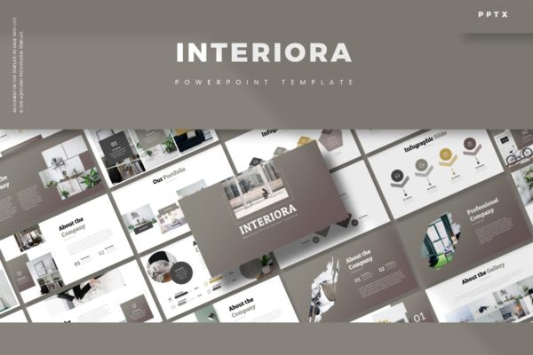 经典灰色调商务感Powerpoint演示模板 Interiora – Powerpoint Template