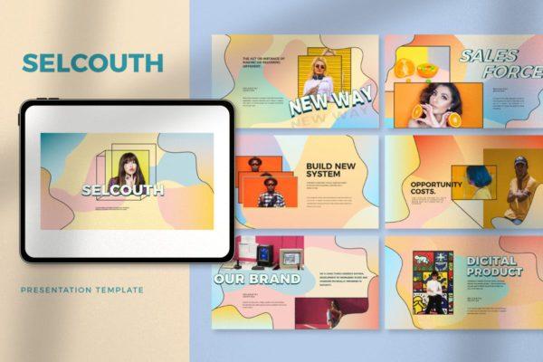创意粉彩风格作品集PPT幻灯片模板 Selcouth – Pastel Portfolio Creative Powerpoint
