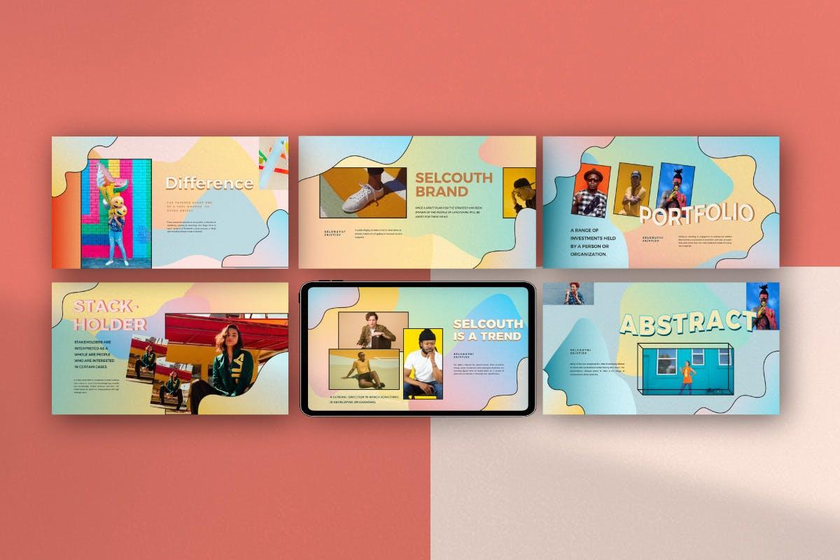 创意粉彩风格作品集PPT幻灯片模板 Selcouth – Pastel Portfolio Creative Powerpoint设计素材模板