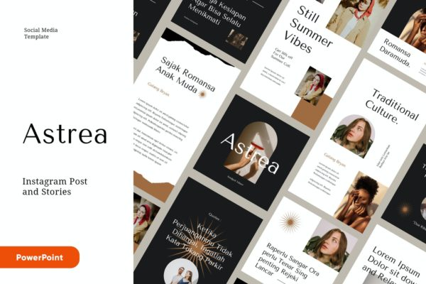 社交营销Powerpoint时尚Instagram幻灯片模板 ASTREA – Fashion Instagram Kit Powerpoint Template