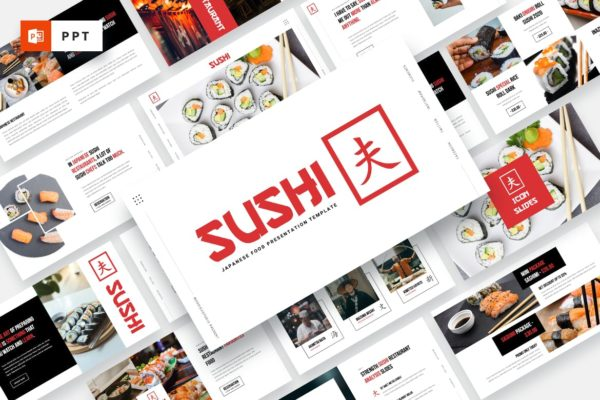 Powerpoint模板素材日本寿司食品主题 SUSHI – Japanese Food Powerpoint Template