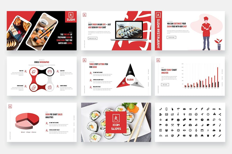 Powerpoint模板素材日本寿司食品主题 SUSHI – Japanese Food Powerpoint Template设计素材模板
