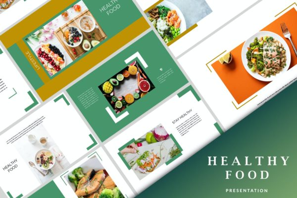 创意幻灯片健康食品主题演示PPT模板 Healthy Food – Creative Powerpoint Template