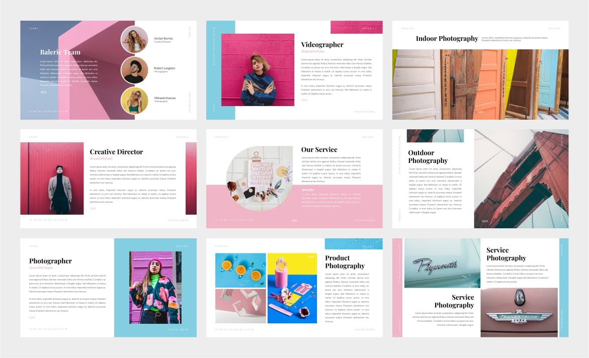 摄影艺术作品展示Powerpoint模板 Baleric – Photocinema Powerpoint Template设计素材模板