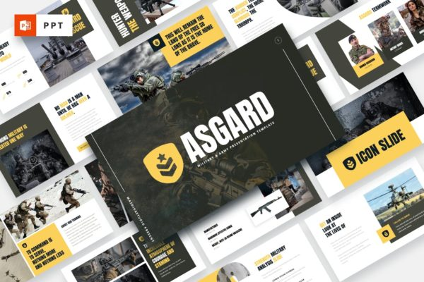 PPT演示陆军军事主题幻灯片模板 ASGARD – Military & Army Powerpoint Template