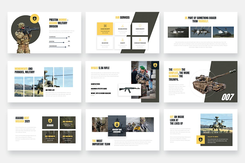 PPT演示陆军军事主题幻灯片模板 ASGARD – Military & Army Powerpoint Template设计素材模板