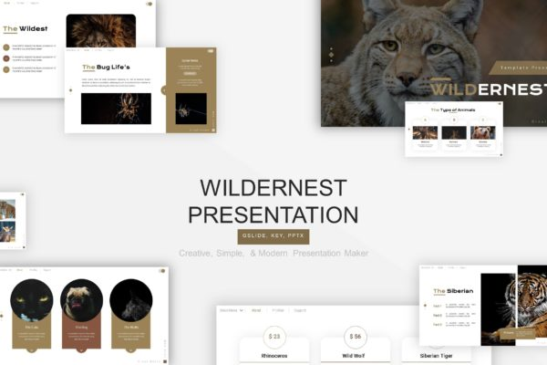 介绍野生动物种类PPT幻灯片模板素材 Wildernest Presentation Template