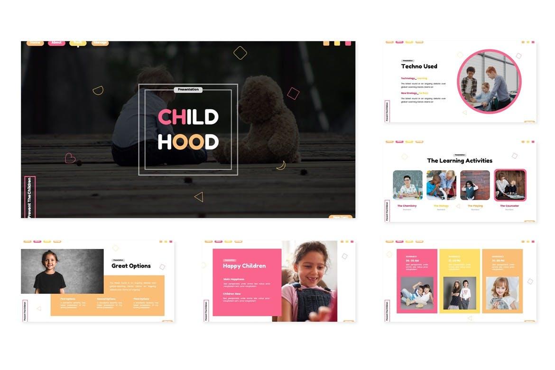 儿童教育PPT&学前教育幻灯片模板素材 Childhood – Powerpoint Template设计素材模板