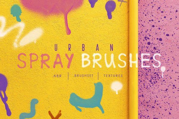 喷洒油漆效果Procreate&Photoshop字体笔刷 Procreate&Ph Urban Spray Brushes