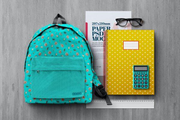 学习文具开学季用品场景纸张展示样机模板v4 Back to School Mockup