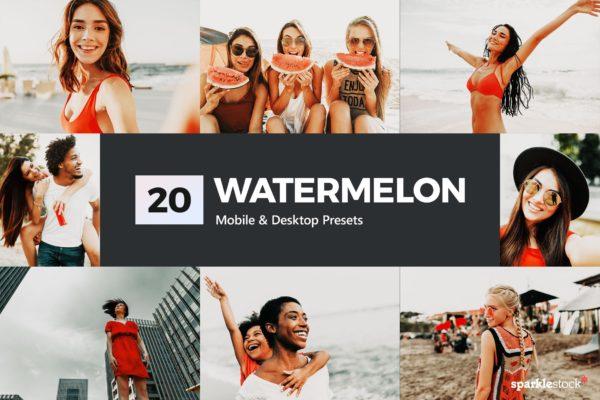 20款夏季海滩西瓜红色后期修图LR预设 20 Watermelon Lightroom Presets and LUTs