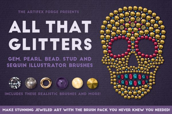 Blingbling绘画宝石/石头/珠子/金属钉/亮片/珍珠AI笔刷 All That Glitters – Vector Brushes