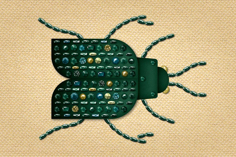 Blingbling绘画宝石/石头/珠子/金属钉/亮片/珍珠AI笔刷 All That Glitters – Vector Brushes设计素材模板