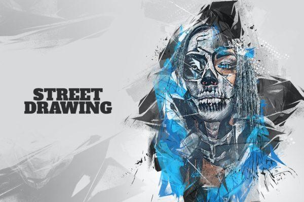 照片处理酷炫效果Photoshop动作 Street Drawing Photoshop Action