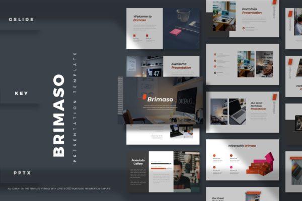 简约高级风工作报告/年度总结PowerPoint模板 Brimaso – Presentation Template