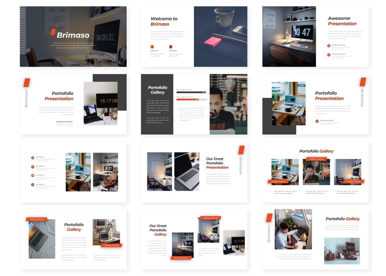 简约高级风工作报告/年度总结PowerPoint模板 Brimaso – Presentation Template设计素材模板