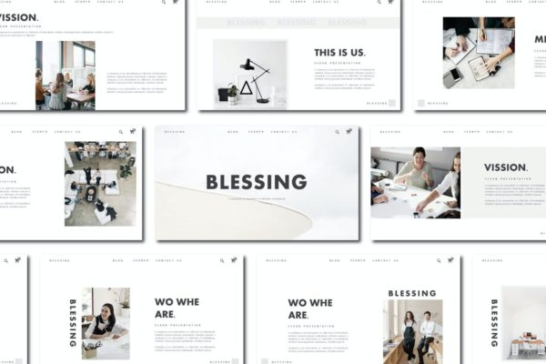 工作室成员创意介绍Powerpoint幻灯片模板 Blessing – Powerpoint Template