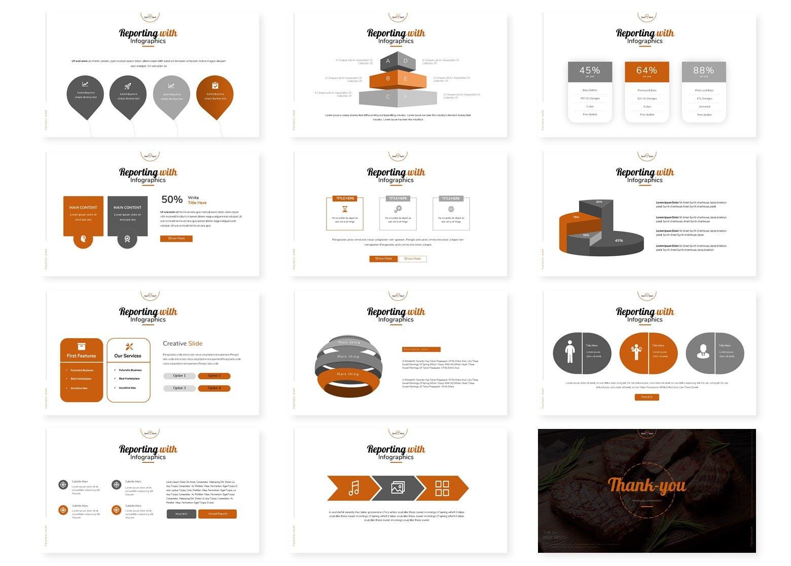 西餐厅菜肴牛排主题介绍PPT幻灯片模板 Bief And Beef | Powerpoint, Keynote, Google Slides设计素材模板
