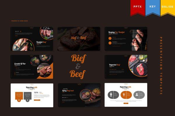 西餐厅菜肴牛排主题介绍PPT幻灯片模板 Bief And Beef | Powerpoint, Keynote, Google Slides