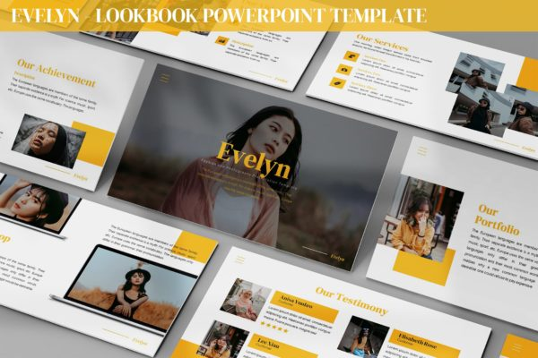 Lookbook样式排版Powerpoint演示文稿模板 Evelyn – Lookbook Powerpoint Template