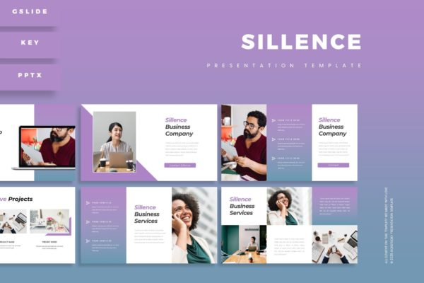 渐变紫幻灯片创意演示PowerPoint模板 Sillence – Presentation Template