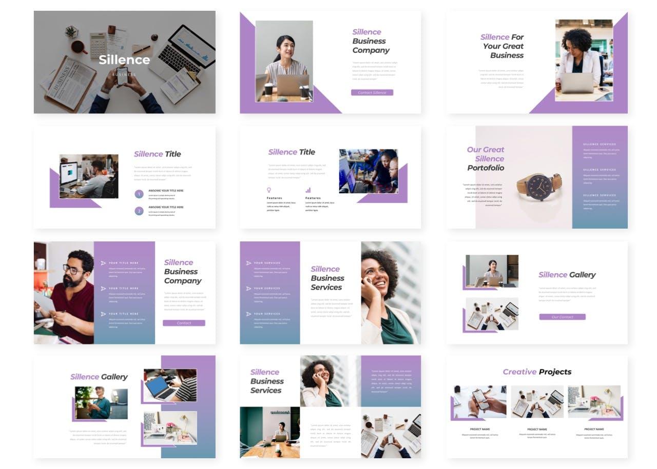 渐变紫幻灯片创意演示PowerPoint模板 Sillence – Presentation Template设计素材模板