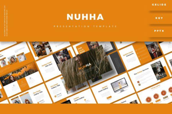 橘黄色清新背景PPT模板下载 Nuhha – Presentation Template