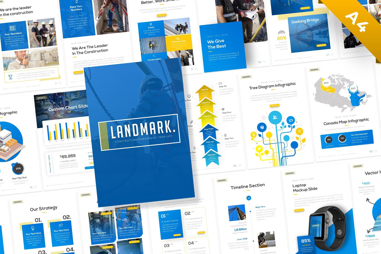 施工/建筑业务技术指导PowerPoint模板 Landmark Portrait Construction PowerPoint Template设计素材模板