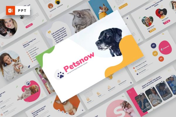 宠物护理/宠物店Powerpoint模板合集 Petsnow – Pet Care & Pet Shop Powerpoint Template