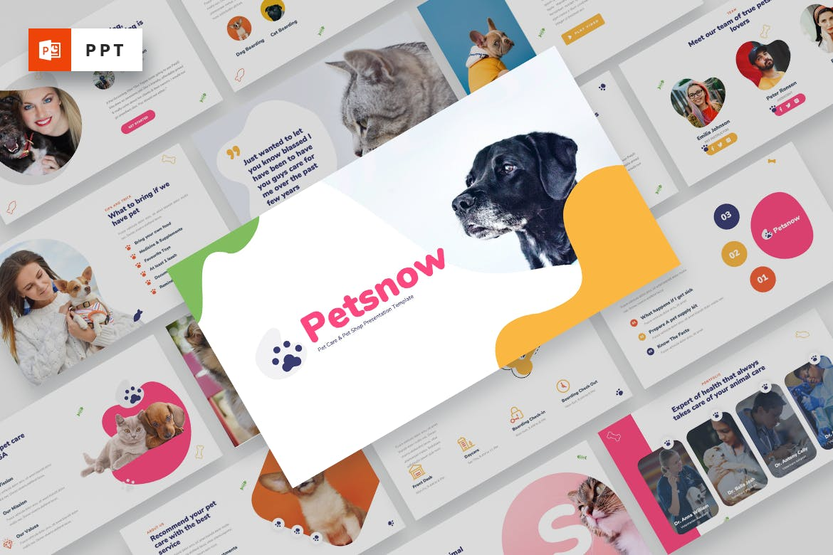 宠物护理/宠物店Powerpoint模板合集 Petsnow – Pet Care & Pet Shop Powerpoint Template设计素材模板