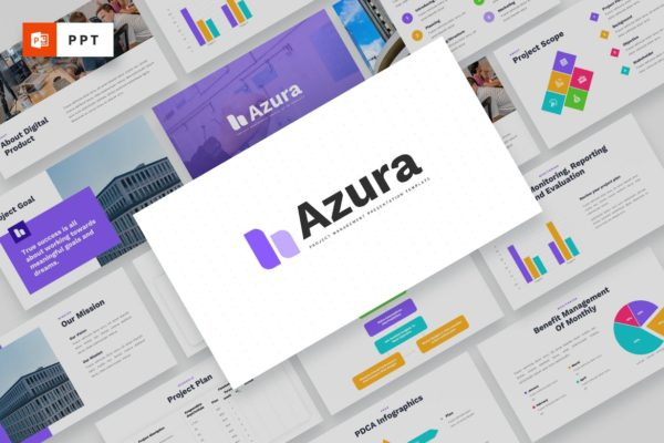 项目管理多用途Powerpoint模板 AZURA – Project Management Powerpoint Template