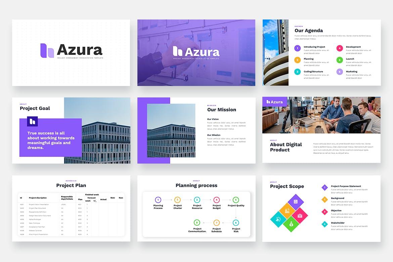 项目管理多用途Powerpoint模板 AZURA – Project Management Powerpoint Template设计素材模板