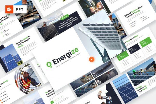 项目介绍可再生能源PPT幻灯片模板 ENERGIZE – Solar Energy Powerpoint Template