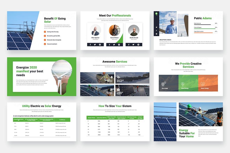 项目介绍可再生能源PPT幻灯片模板 ENERGIZE – Solar Energy Powerpoint Template设计素材模板