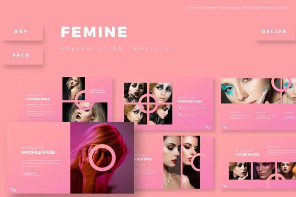 彩妆主题粉色背景产品展示PPT演示模板 Femine – Presentation Template
