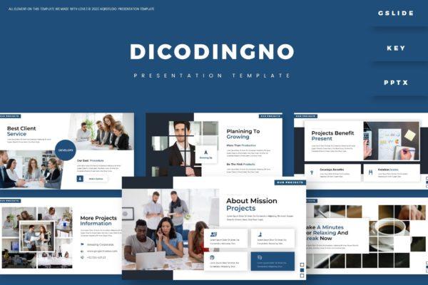 简洁白色背景商务会议演讲PPT模板 Dicodingno – Presentation Template