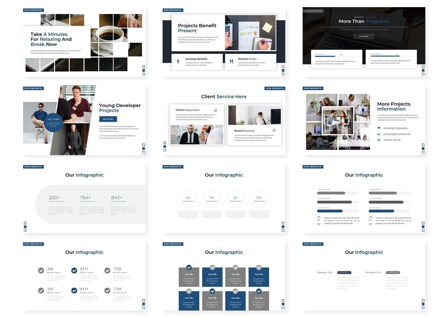 简洁白色背景商务会议演讲PPT模板 Dicodingno – Presentation Template设计素材模板