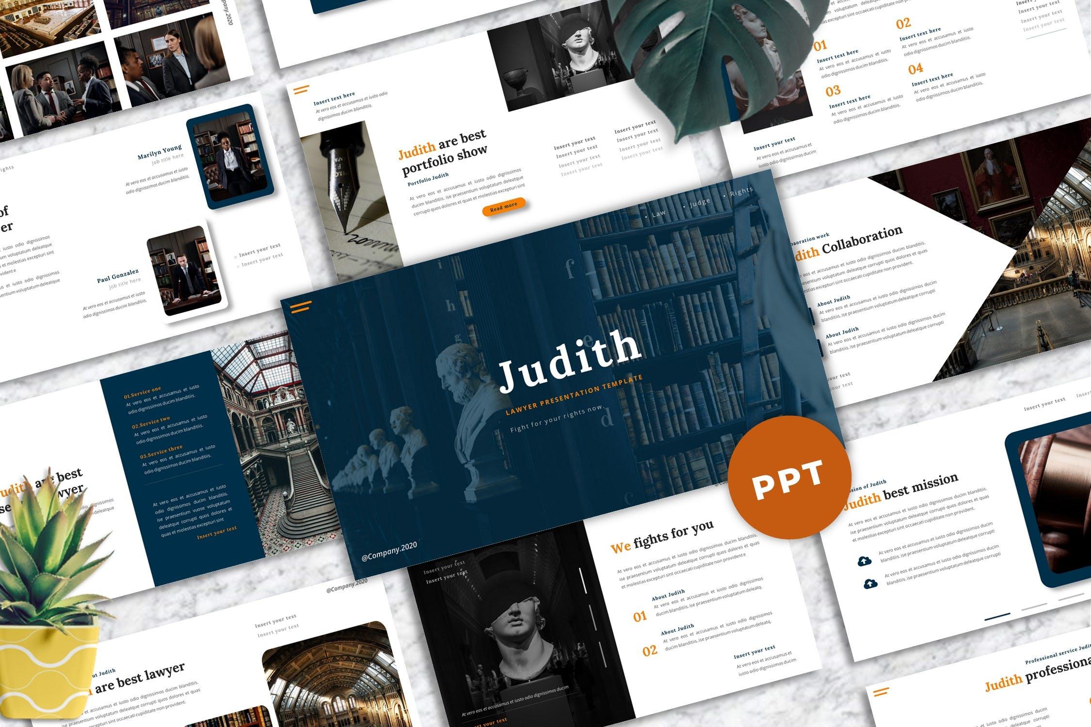 律师事务所推广服务Powerpoint模板素材 Judith – Lawyer Powerpoint Template设计素材模板