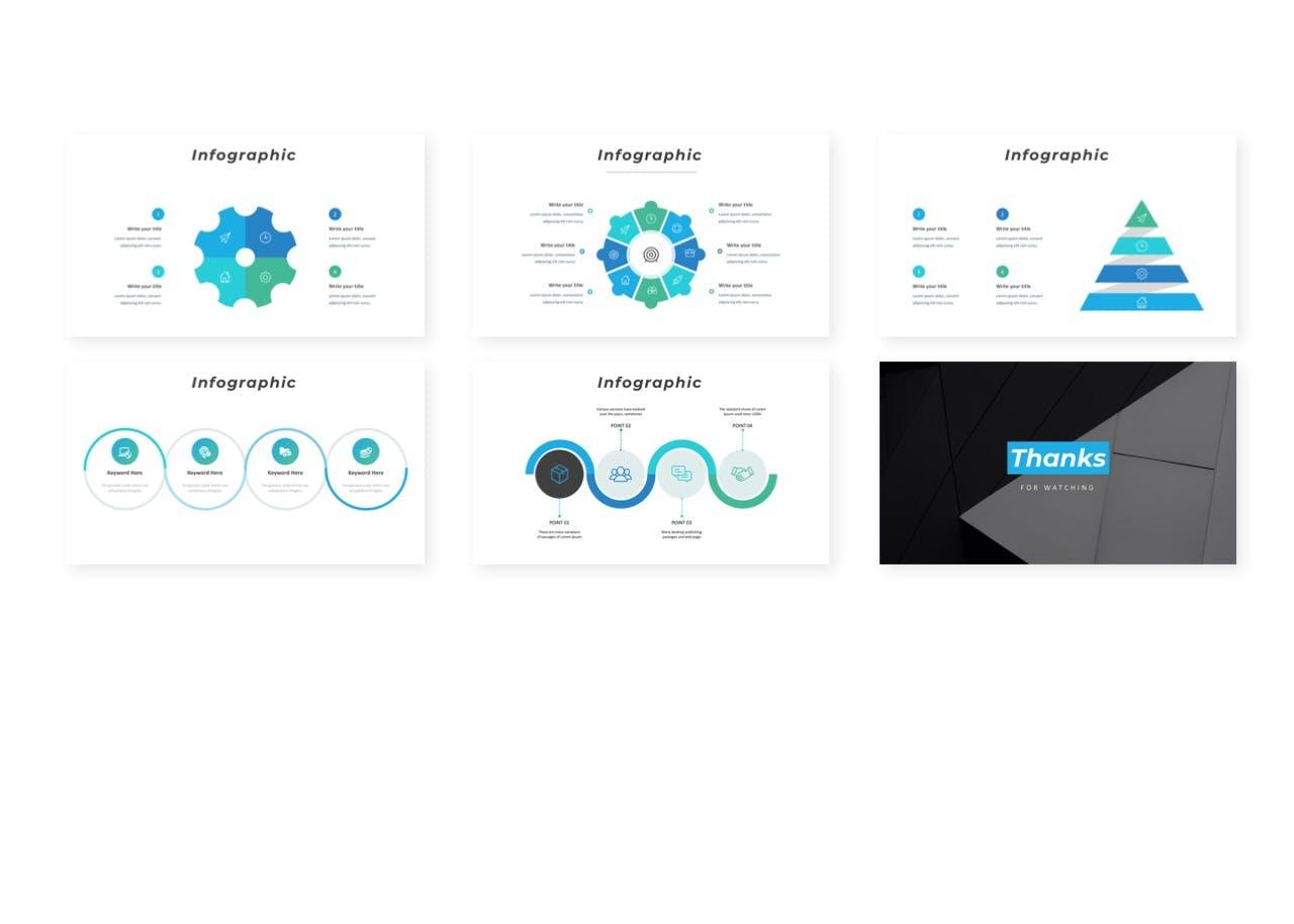 蓝色元素创意设计演讲PPT模板合集 Villain – Presentation Template设计素材模板