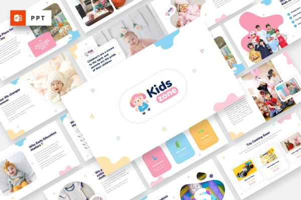 幼儿园简介PowerPoint演示模板 Kids Zone – Kids & Baby Powerpoint Template